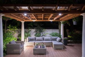 Deck lighting helps provide a great place to spend time on spring evenings.